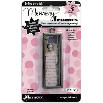 Ranger Ink - Inkssentials - Jewelry - Memory Frames - 1 x 3 - Black Patina