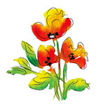 Rubbernecker Stamps - Cling Mounted Rubber Stamp Set - Watercolor Poppies