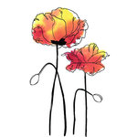 Rubbernecker Stamps - Cling Mounted Rubber Stamp Set - Poppies Small