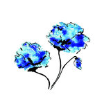 Rubbernecker Stamps - Cling Mounted Rubber Stamp Set - Blue Flowers