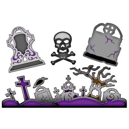 Spellbinders - Shapeabilities Collection - Halloween - Die Cutting and Embossing Templates - Graveyard Scenes and Shapes
