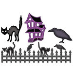 Spellbinders - Shapeabilities Collection - Die Cutting and Embossing Templates - Halloween Fence Scenes and Shapes