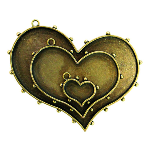 Spellbinders - Media Mixage Collection - Bezels - Hearts One - Bronze