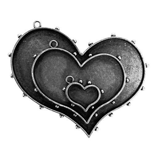 Spellbinders - Media Mixage Collection - Bezels - Hearts One - Silver