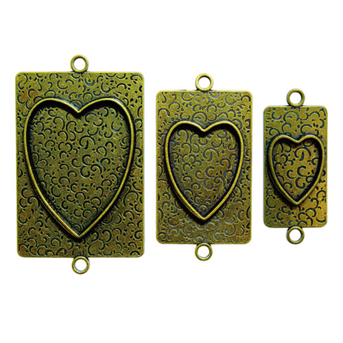 Spellbinders - Media Mixage Collection - Bezels - Hearts Two - Bronze