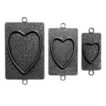Spellbinders - Media Mixage Collection - Bezels - Hearts Two - Silver