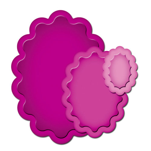 Spellbinders - Presto Punch - Die Cutting and Embossing Template - Scalloped Ovals
