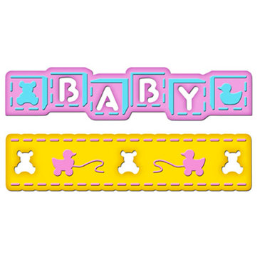 Spellbinders - Borderabilities Collection - Die Cutting and Embossing Templates - Baby Border Petites, CLEARANCE