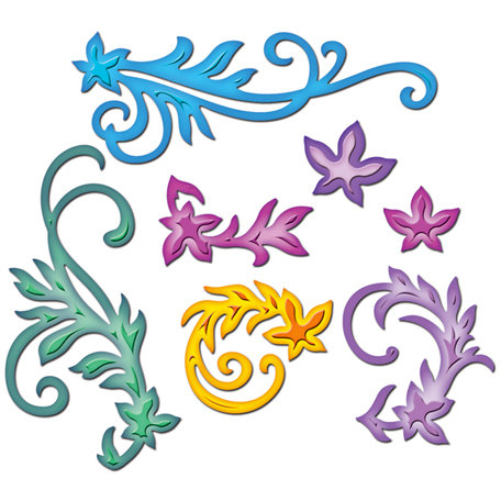Spellbinders - Shapeabilities Collection - Die Cutting and Embossing Templates - Floral Flourishes
