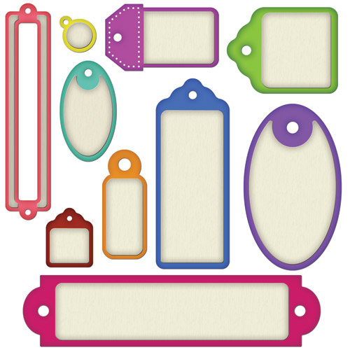 Spellbinders - Shapeabilities Collection - Die Cutting and Embossing Templates - Back To Basics Tags