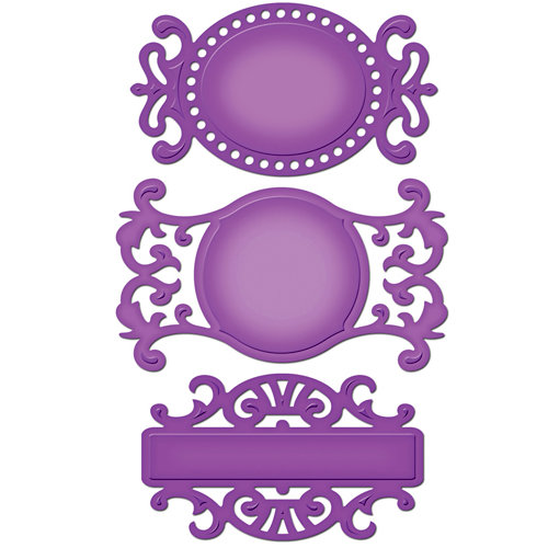 Spellbinders - Shapeabilities Collection - Die Cutting and Embossing Templates -Fancy Tags Three