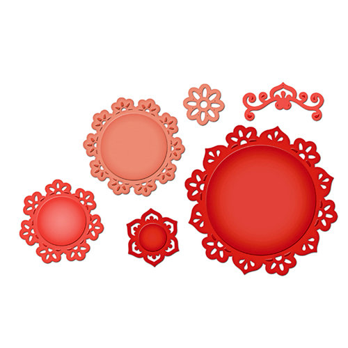 Spellbinders - Shapeabilities Collection - Die Cutting and Embossing Templates - Floral Doily Motifs
