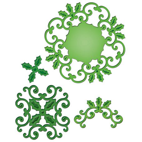 Spellbinders - Shapeabilities Collection - Christmas - Die Cutting and Embossing Templates - Holly Motifs
