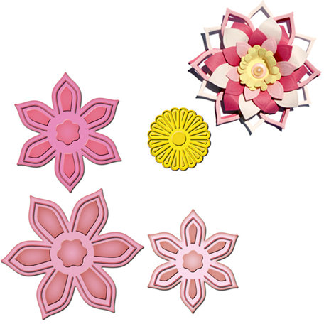 Spellbinders - Shapeabilities Collection - Die Cutting and Embossing Templates - Anemone Flower Topper