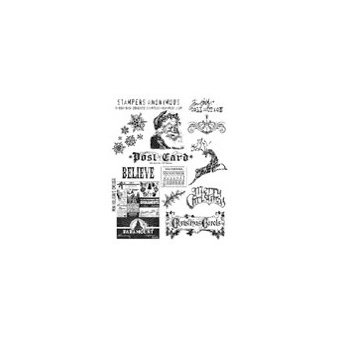 Stampers Anonymous - Tim Holtz - Christmas - Cling Mounted Rubber Stamp Set - Mini Holidays
