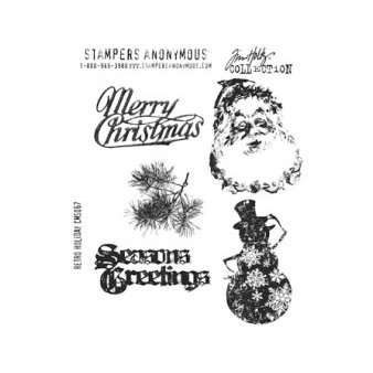 Stampers Anonymous - Tim Holtz - Christmas - Cling Mounted Rubber Stamp Set - Retro Holiday