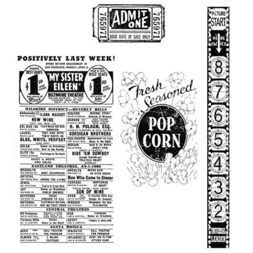 Stampers Anonymous - Tim Holtz - Cling Mounted Rubber Stamp Set - At The Movies