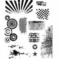 Stampers Anonymous - Tim Holtz - Cling Mounted Rubber Stamp Set - Bitty Grunge