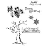 Stampers Anonymous - Tim Holtz - Cling Mounted Rubber Stamp Set - Winter Sketchbook