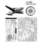 Stampers Anonymous - Tim Holtz - Cling Mounted Rubber Stamp Set - Air Travel