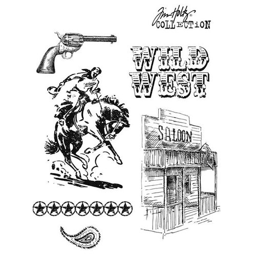 Stampers Anonymous - Tim Holtz - Cling Mounted Rubber Stamp Set - Wild West