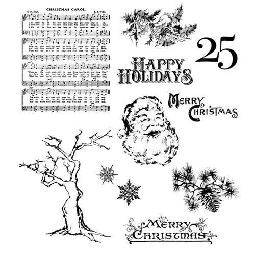 Stampers Anonymous - Tim Holtz - Christmas - Cling Mounted Rubber Stamps - Mini Holidays 3