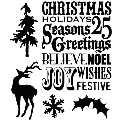 Stampers Anonymous - Tim Holtz - Christmas - Cling Mounted Rubber Stamps - Season's Silhouettes