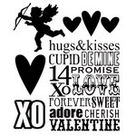 Stampers Anonymous - Tim Holtz - Cling Mounted Rubber Stamp Set - Valentine Silhouettes
