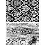 Stampers Anonymous - Tim Holtz - Cling Mounted Rubber Stamp Set - Wallpaper and Wood