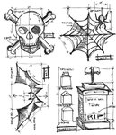Stampers Anonymous - Tim Holtz - Cling Mounted Rubber Stamp Set - Halloween Blueprint