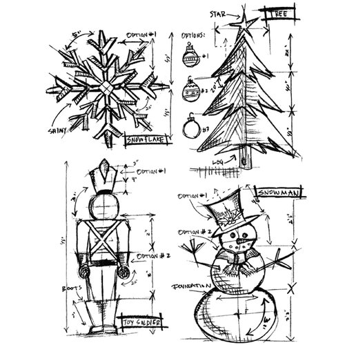 Stampers Anonymous - Tim Holtz - Cling Mounted Rubber Stamp Set - Christmas Blueprint