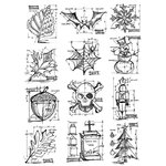 Stampers Anonymous - Tim Holtz - Cling Mounted Rubber Stamp Set - Mini Blueprint