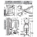 Stamper's Anonymous - Tim Holtz - Cling Mounted Rubber Stamp Set - Sewing Blueprint