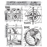 Stamper's Anonymous - Tim Holtz - Cling Mounted Rubber Stamp Set - Travel Blueprint