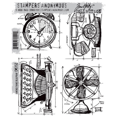 Stamper's Anonymous - Tim Holtz - Cling Mounted Rubber Stamp Set - Vintage Things Blueprint