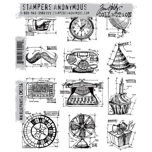 Stamper's Anonymous - Tim Holtz - Cling Mounted Rubber Stamp Set - Mini Blueprints 4