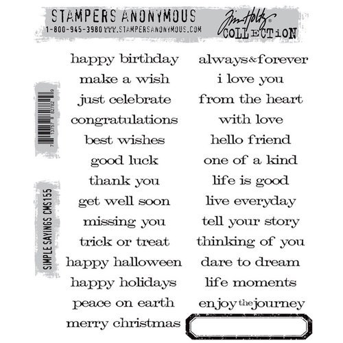 Stamper's Anonymous - Tim Holtz - Cling Mounted Rubber Stamp Set - Simple Sayings