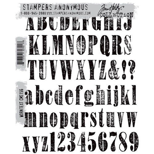 Stampers Anonymous - Tim Holtz - Cling Mounted Rubber Stamp Set - Worn Text