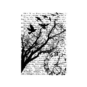 Stampers Anonymous Tim Holtz ATC Cling Mounted Rubber Stamps Time Collage