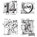 Stampers Anonymous - Tim Holtz - Cling Mounted Rubber Stamp Set - Valentine Blueprint