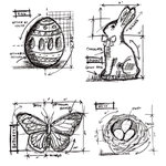 Stampers Anonymous - Tim Holtz - Cling Mounted Rubber Stamp Set - Easter Blueprint