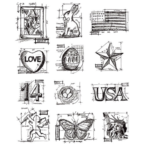 Stampers Anonymous - Tim Holtz - Cling Mounted Rubber Stamp Set - Mini Blueprints 2
