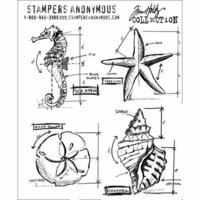 Stampers Anonymous - Tim Holtz - Cling Mounted Rubber Stamp Set - Nautical Blueprint