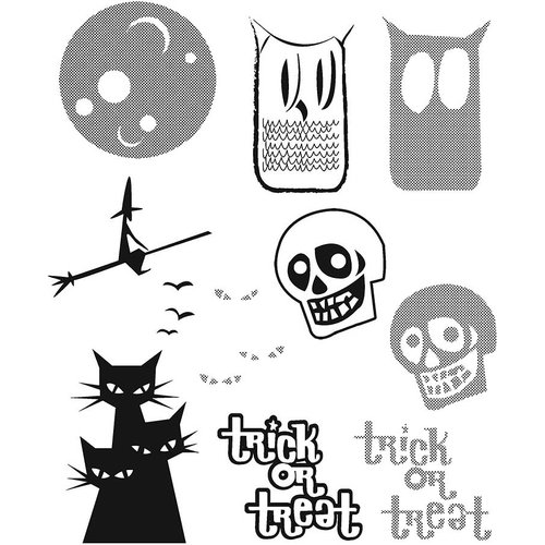 Stampers Anonymous - Tim Holtz - Cling Mounted Rubber Stamp Set - Halftone Halloween