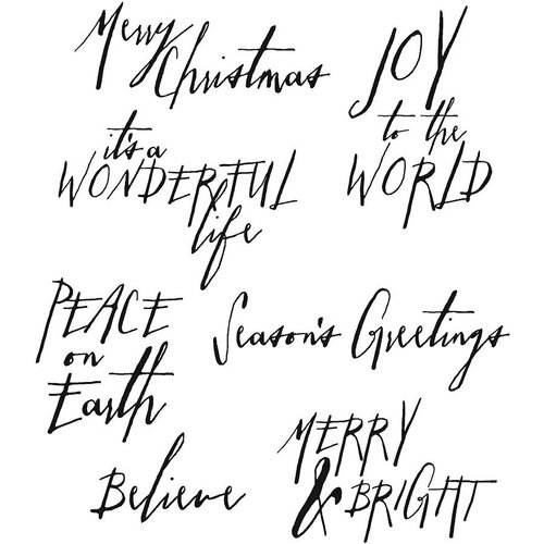Stampers Anonymous - Tim Holtz - Cling Mounted Rubber Stamp Set - Handwritten Holidays 1
