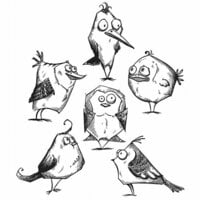 Stampers Anonymous - Tim Holtz - Cling Mounted Rubber Stamp Set - Bird Crazy