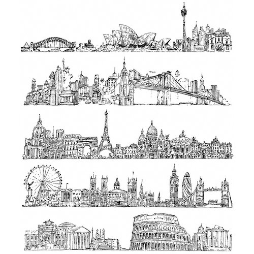 Stampers Anonymous - Tim Holtz - Cling Mounted Rubber Stamp Set - Cityscapes