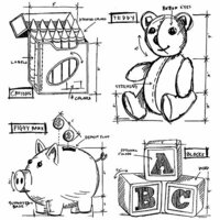 Stampers Anonymous - Tim Holtz - Cling Mounted Rubber Stamp Set - Childhood Blueprint
