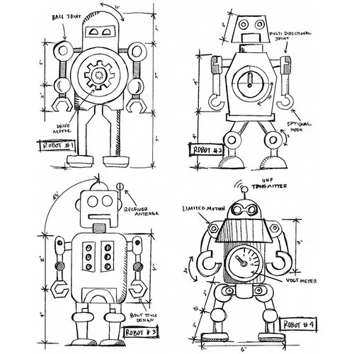 Stampers Anonymous - Tim Holtz - Cling Mounted Rubber Stamp Set - Robots Blueprint