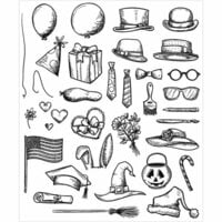 Stampers Anonymous - Tim Holtz - Cling Mounted Rubber Stamp Set - Crazy Things